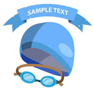 Set of goggles and swimming cap flat icon isolated on white background with place for text