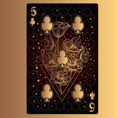 Five of clubs playing card with original design on theme of space.
