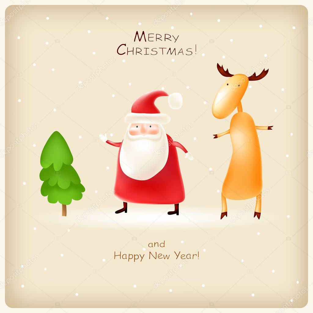 Frohes Neues Jahr Und Frohe Weihnachten Lustige Weihnachtsmann