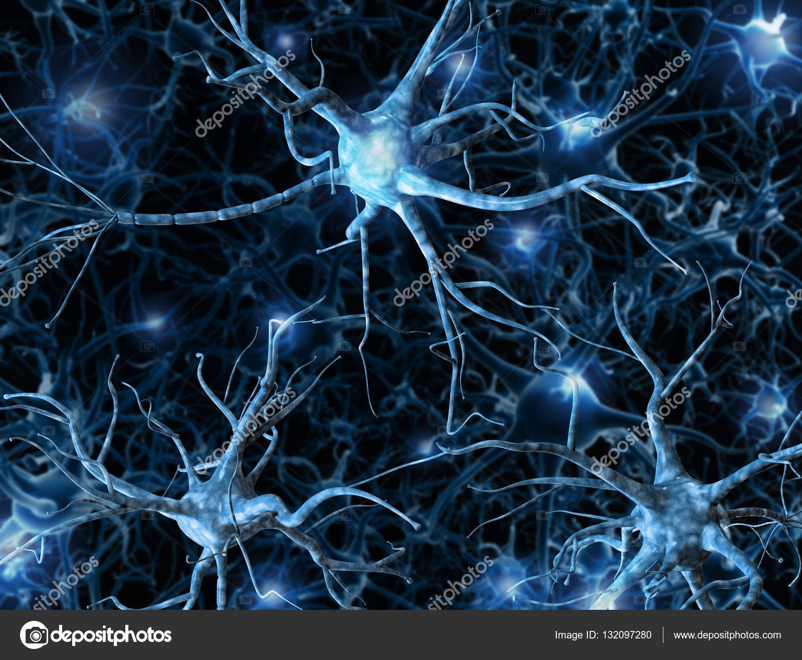 Neural Network On A Dark Blue Background With Light Effects. 3D Rendering.  A High Resolution. U2014 Photo By 100502500