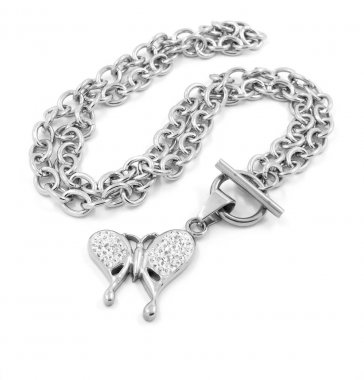 Ladies butterfly necklace - Silver - White gold