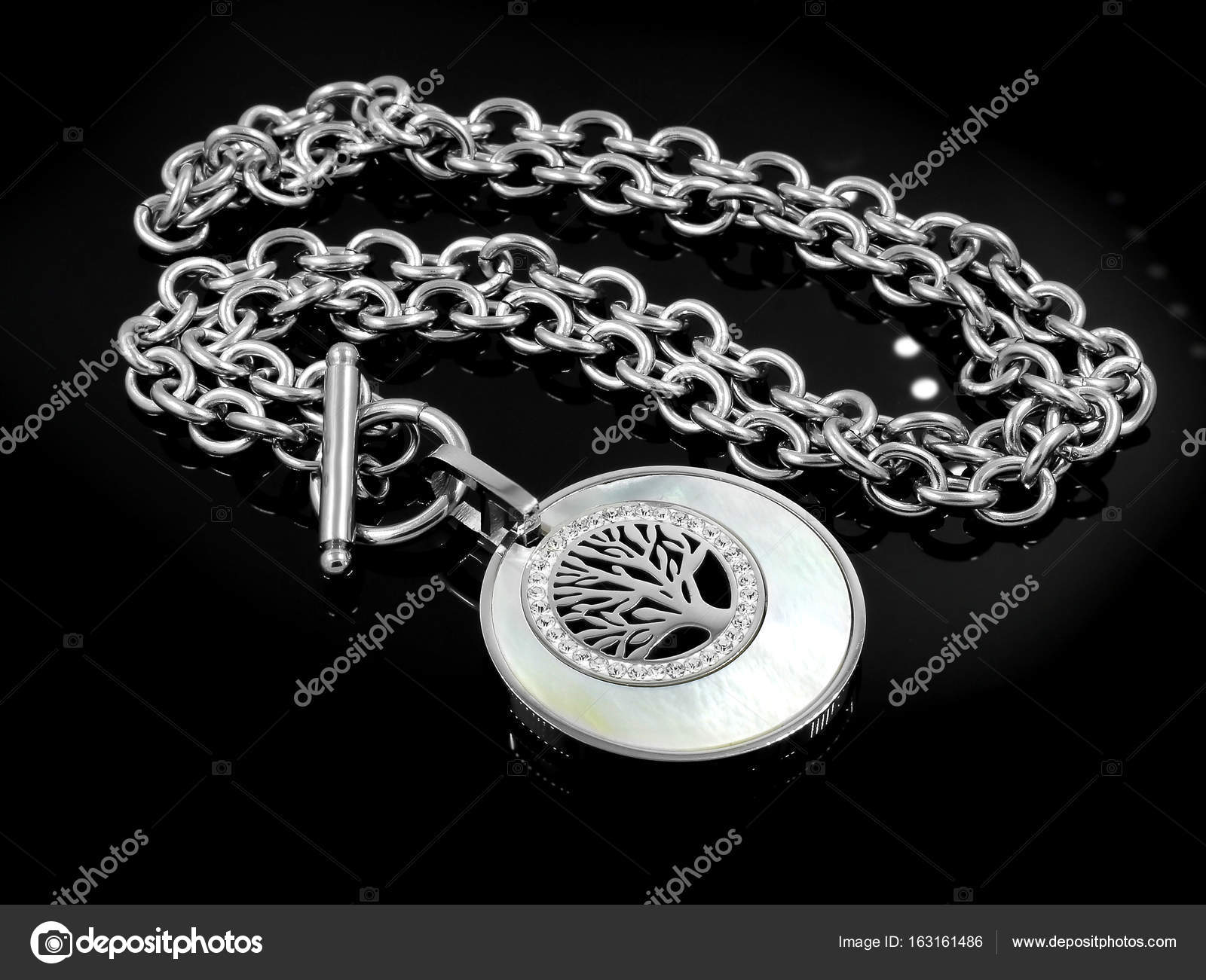 Necklace Symbol Tree Of Life Stainless Steel Stock Photo