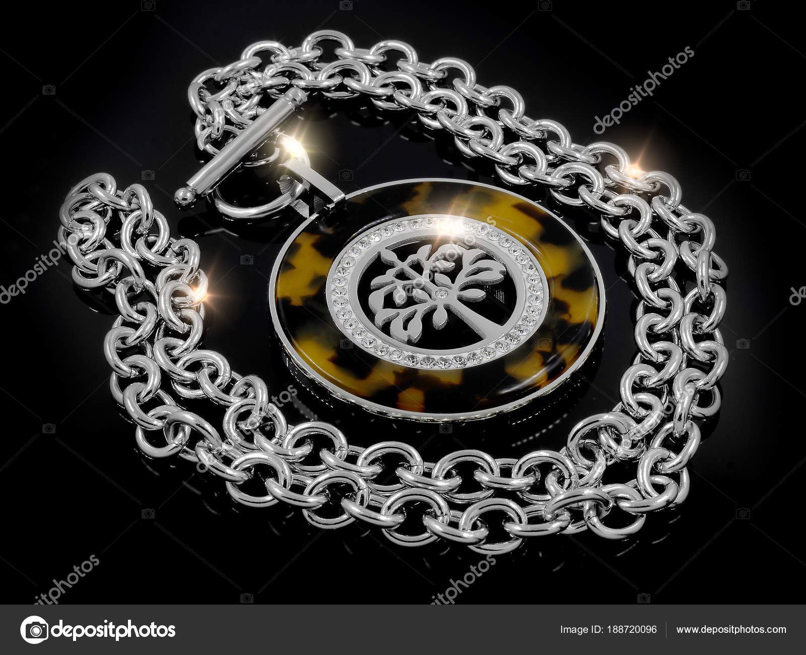 Necklace The Tree Of Life Theme Stainless Steel Stock Photo