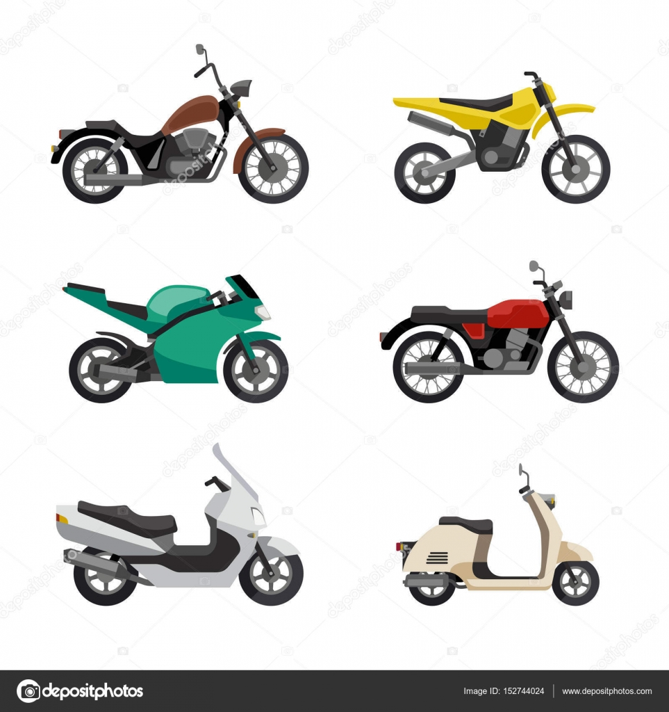 Motorcycles And Scooters Icons Set In Flat Style Vector Illustrations Of Different Type Moto Vehicles By Bolotoff