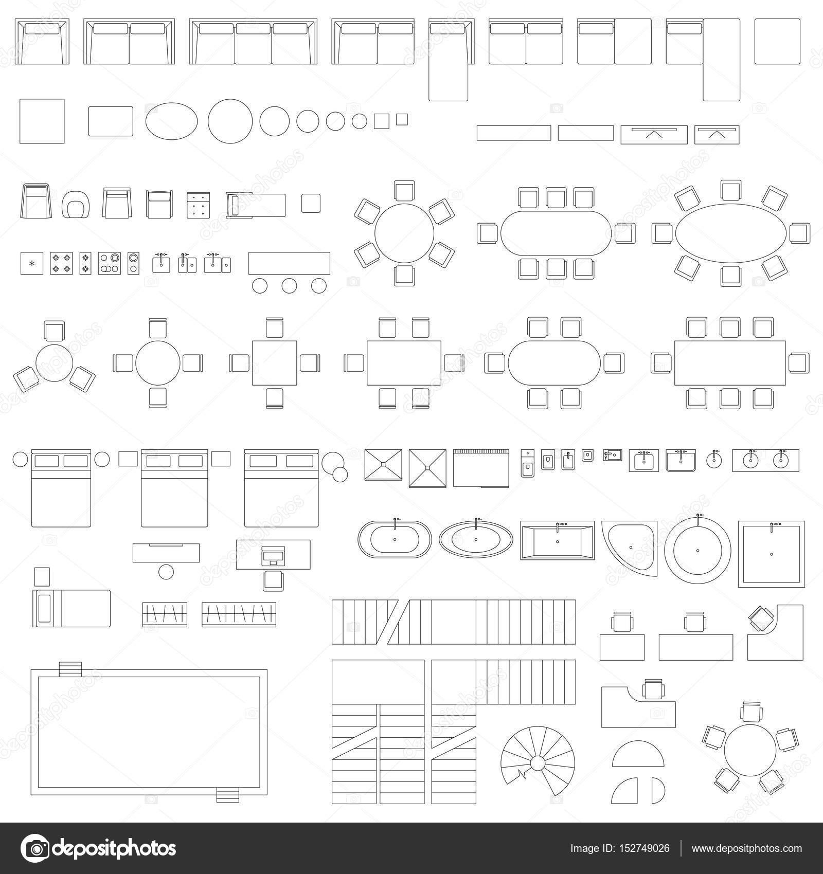 Símbolos de línea de muebles y elementos — Vector de stock ...