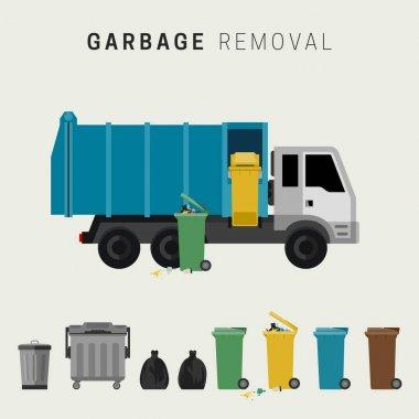 Garbage removal flat illustration