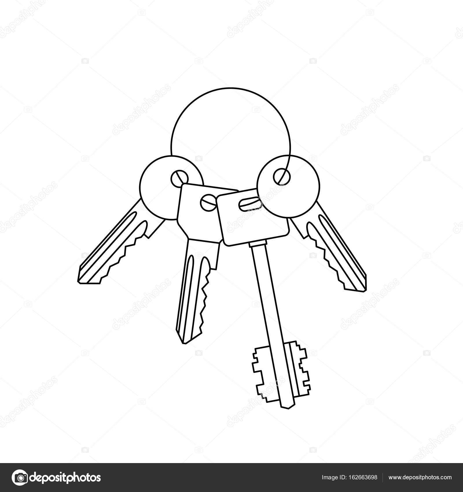 Mazzo Di Chiavi Linea Disegno Vettoriali Stock Bolotoff 162663698