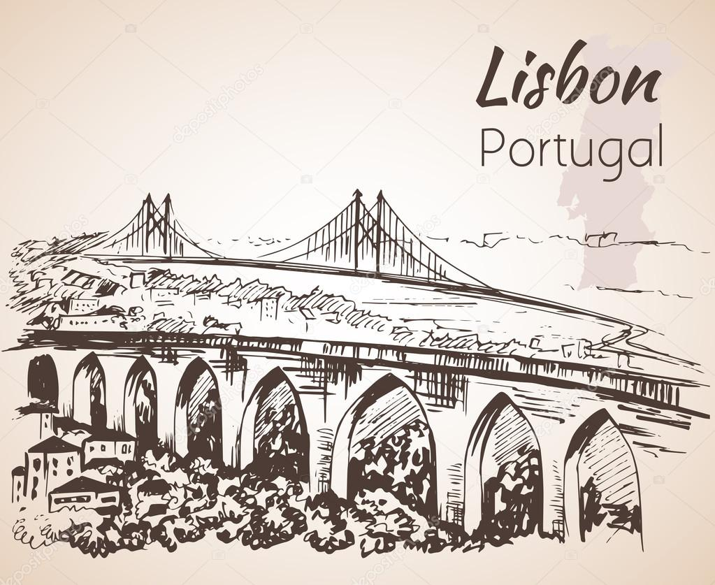 Lisbon Cityscape With Bridges Hand Drawn Sketch Stock Vector Cantilever Bridge Diagram Related Keywords Illustration