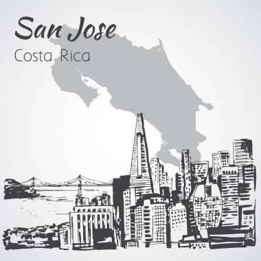 San Jose hand drawn cityscape. Costa Rica. Sketch.