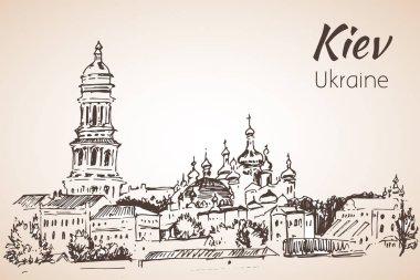 Saint Sophia Cathedral sketch Kiev. Kiev-Pechersk Lavra