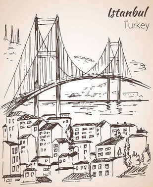 Istanbul Bosphorus Bridge sketch. Turkey.