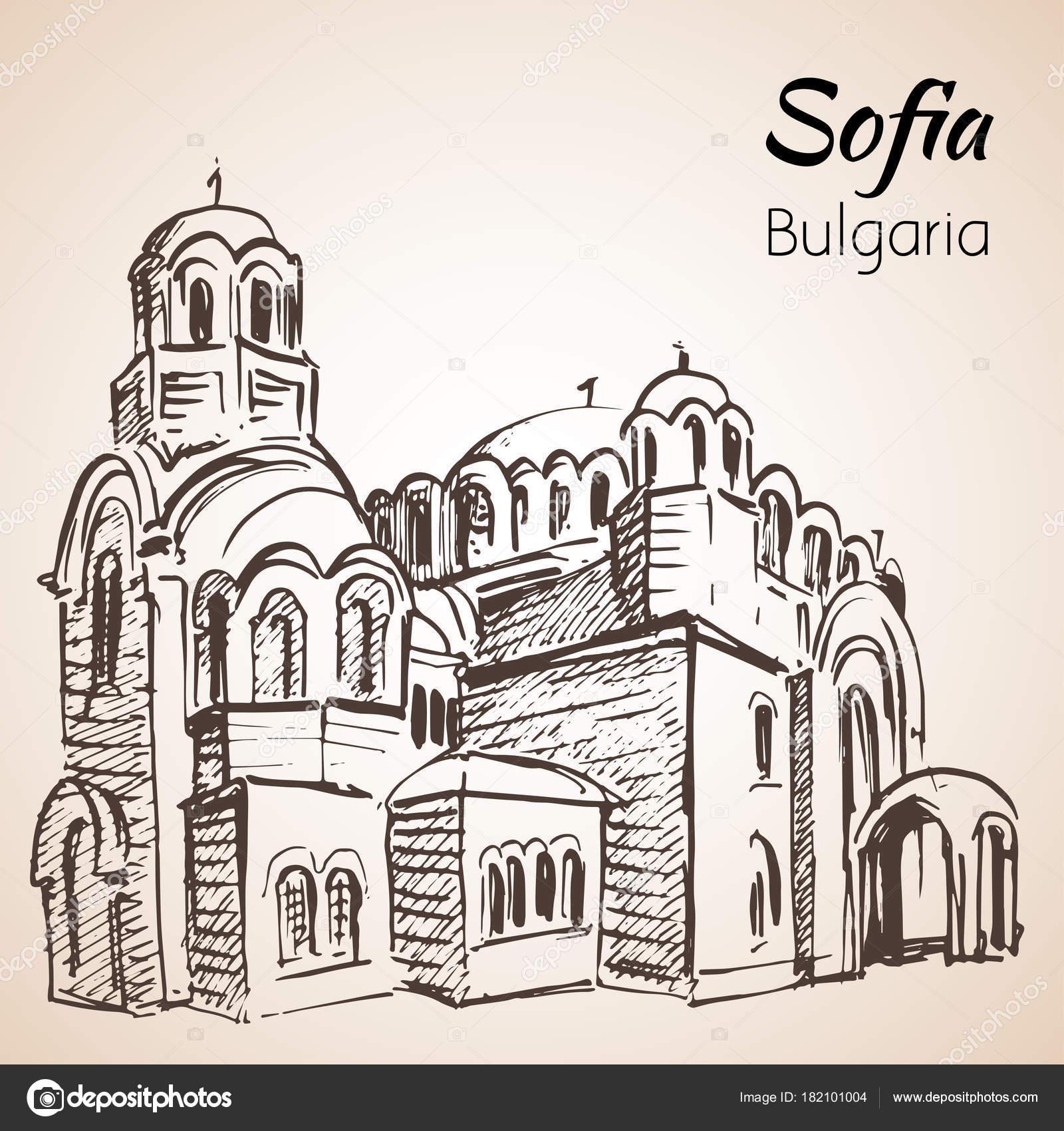 Sveti Sedmochislenitsi Kirche. Sofia, Bulgaria. Sketch. — Stock ...