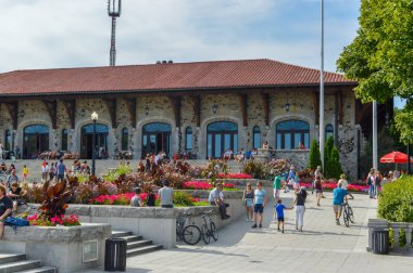 Montreal, Canada - August 16, 2017: Mount Royal Chalet (French: Chalet du Mont-Royal) is a famous building located near the top of Mount Royal in Montreal, Quebec, Canada