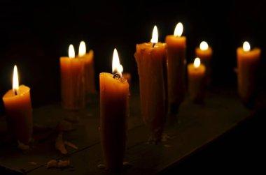 Antique candle burning