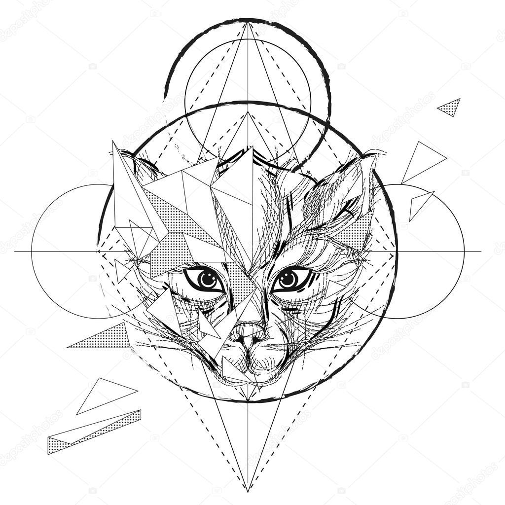 Trendy геометрические тату волк