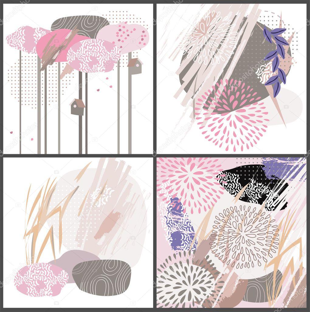Abstrakte florale Elemente Papier Japan collage — Stockvektor ...