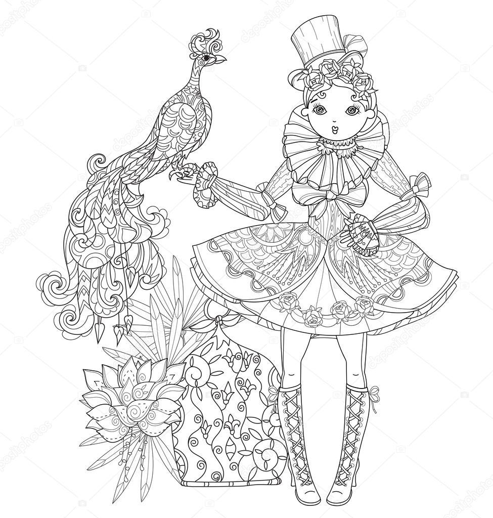 Chica de hadas lindo vector en doodle flores — Archivo Imágenes ...