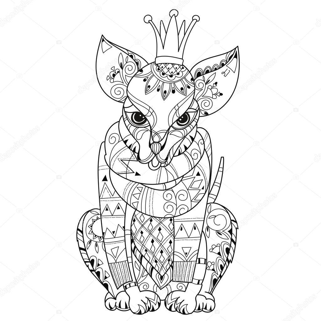 Bosquejo de boho de mano doodle dibuja contorno chihuahua perro ...