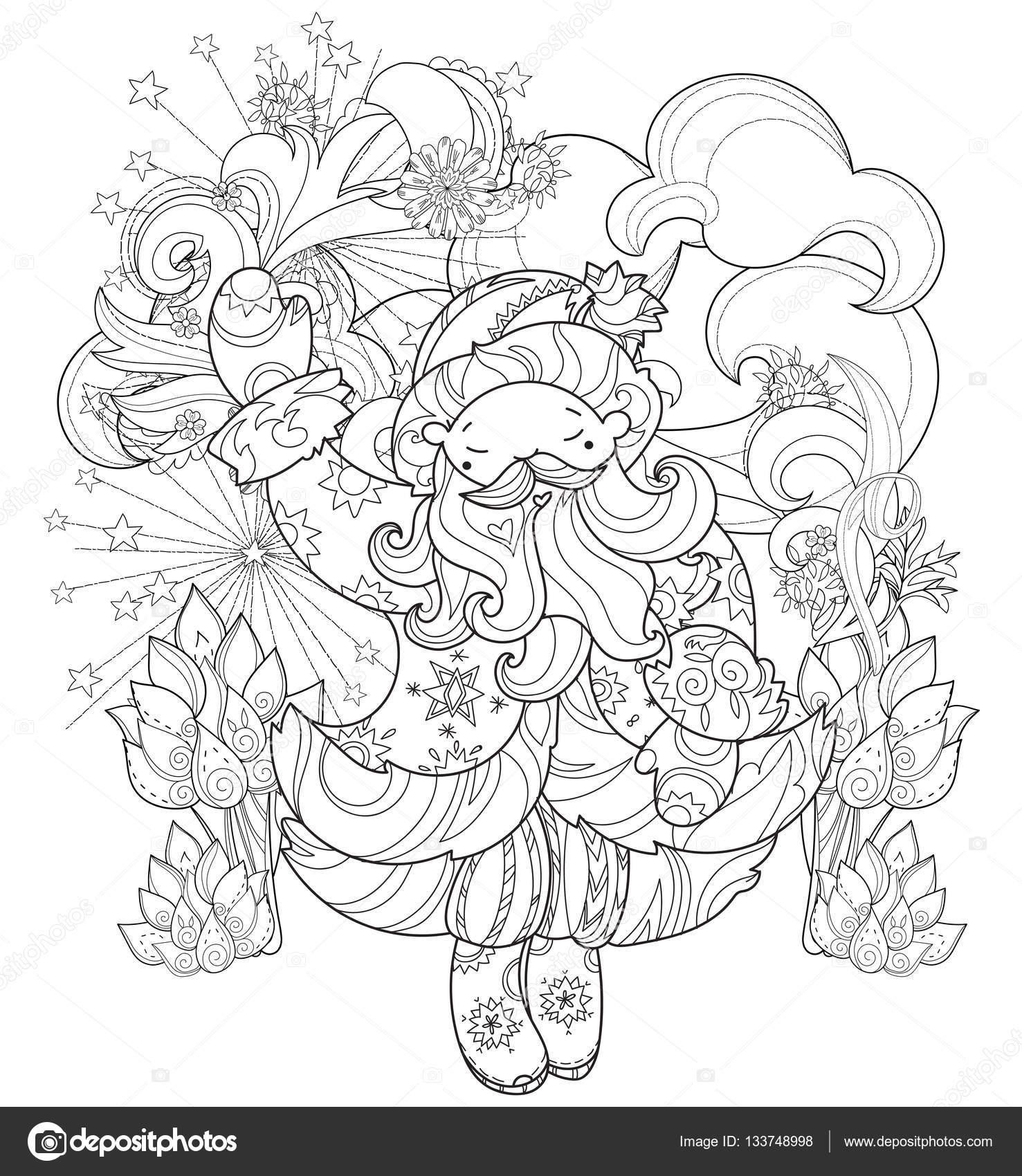 Doodle de ciudad de vector lindo Navidad cuento de hadas — Archivo ...