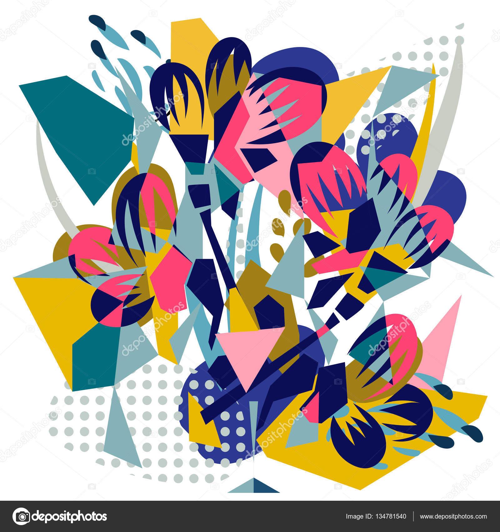 Abstrakte florale Elemente Papier collage — Stockvektor © YAZZIK ...