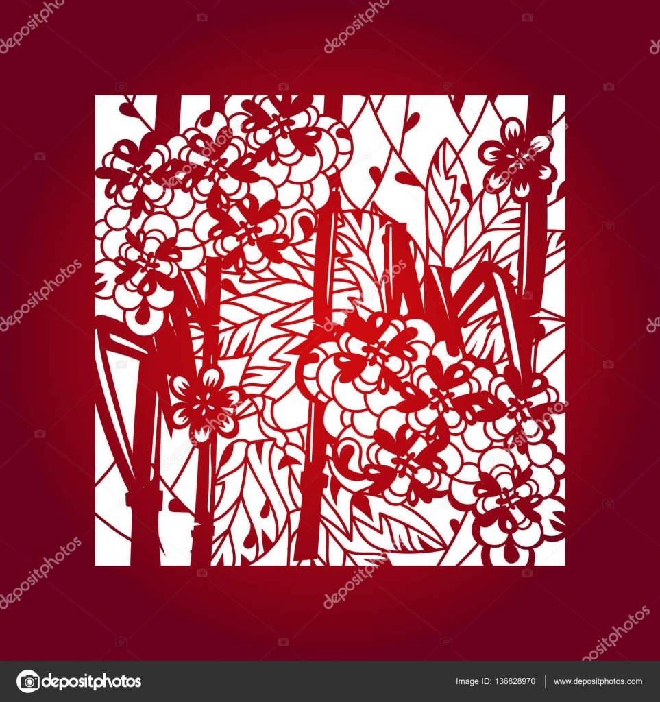 Laser cut vector template layout stock vector yazzik 136828970 laser cut flower pattern for decorative panel vector template ready for printing postcards packets wedding invitation engraving paper wood metal stopboris Choice Image