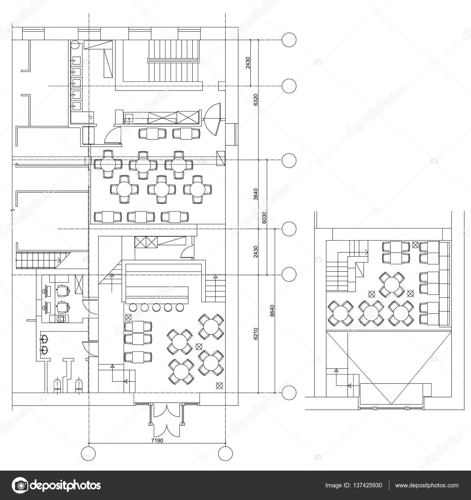 Standard-Café Möbel Symbole auf Grundrisse — Stockvektor © YAZZIK ...