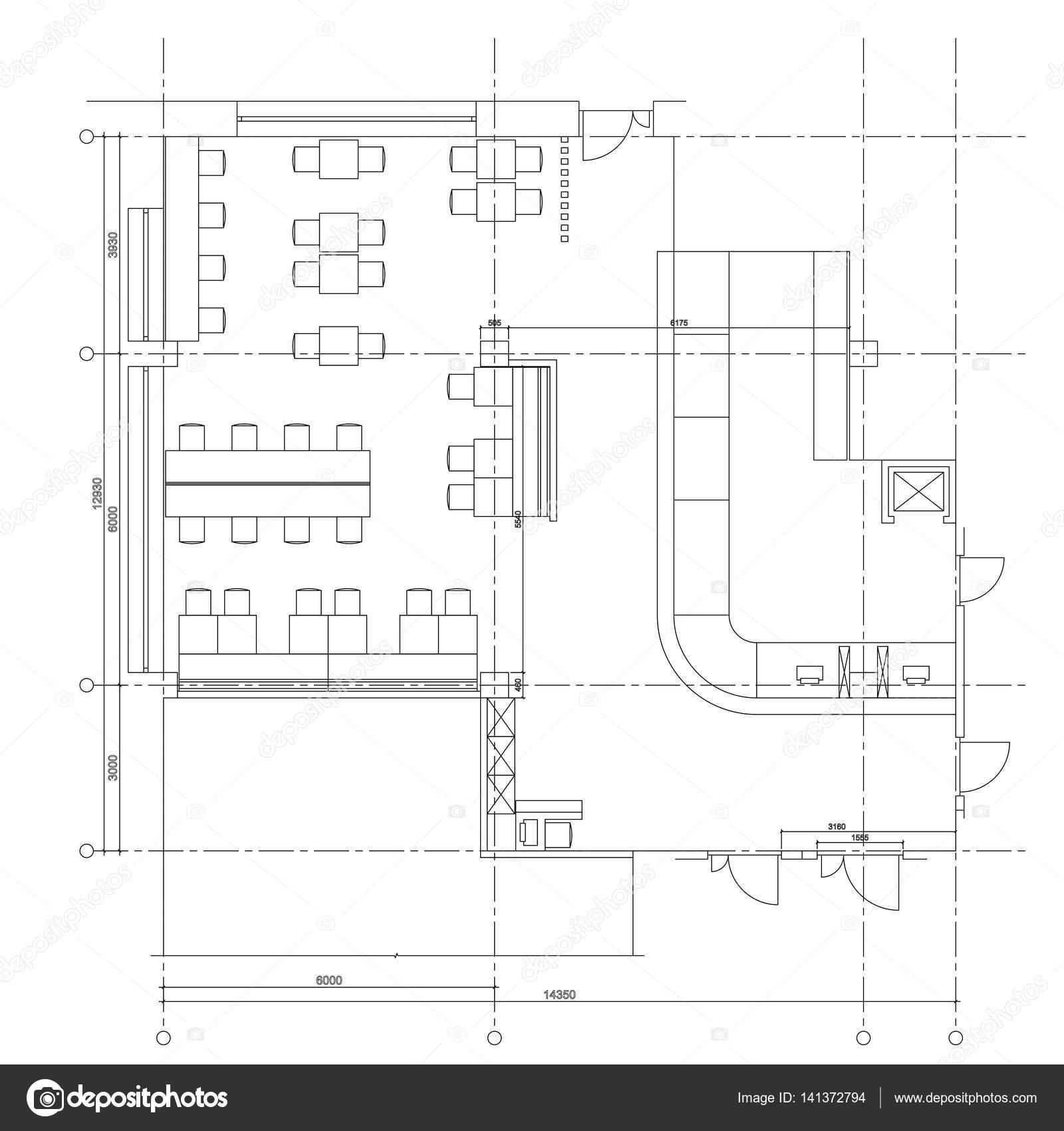 drawing furniture plans. Standard Cafe Furniture Symbols On Floor Plans \u2014 Stock Vector Drawing