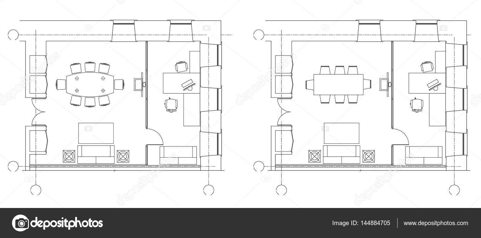 S mbolos de muebles de oficina est ndar en planos de for Planos de oficinas pequenas