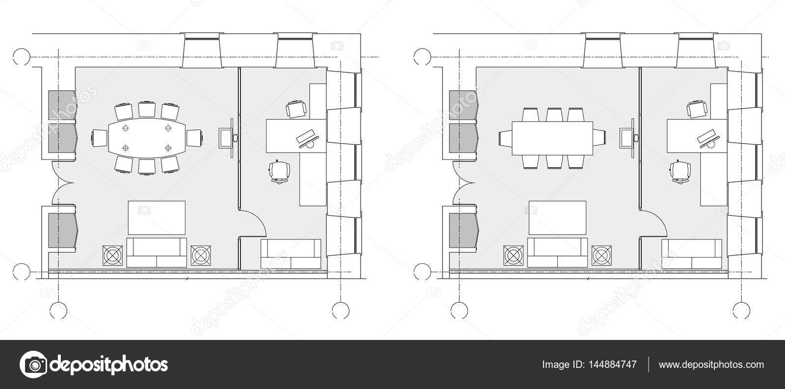 S mbolos de muebles de oficina est ndar en planos de for Diseno de oficinas pequenas planos