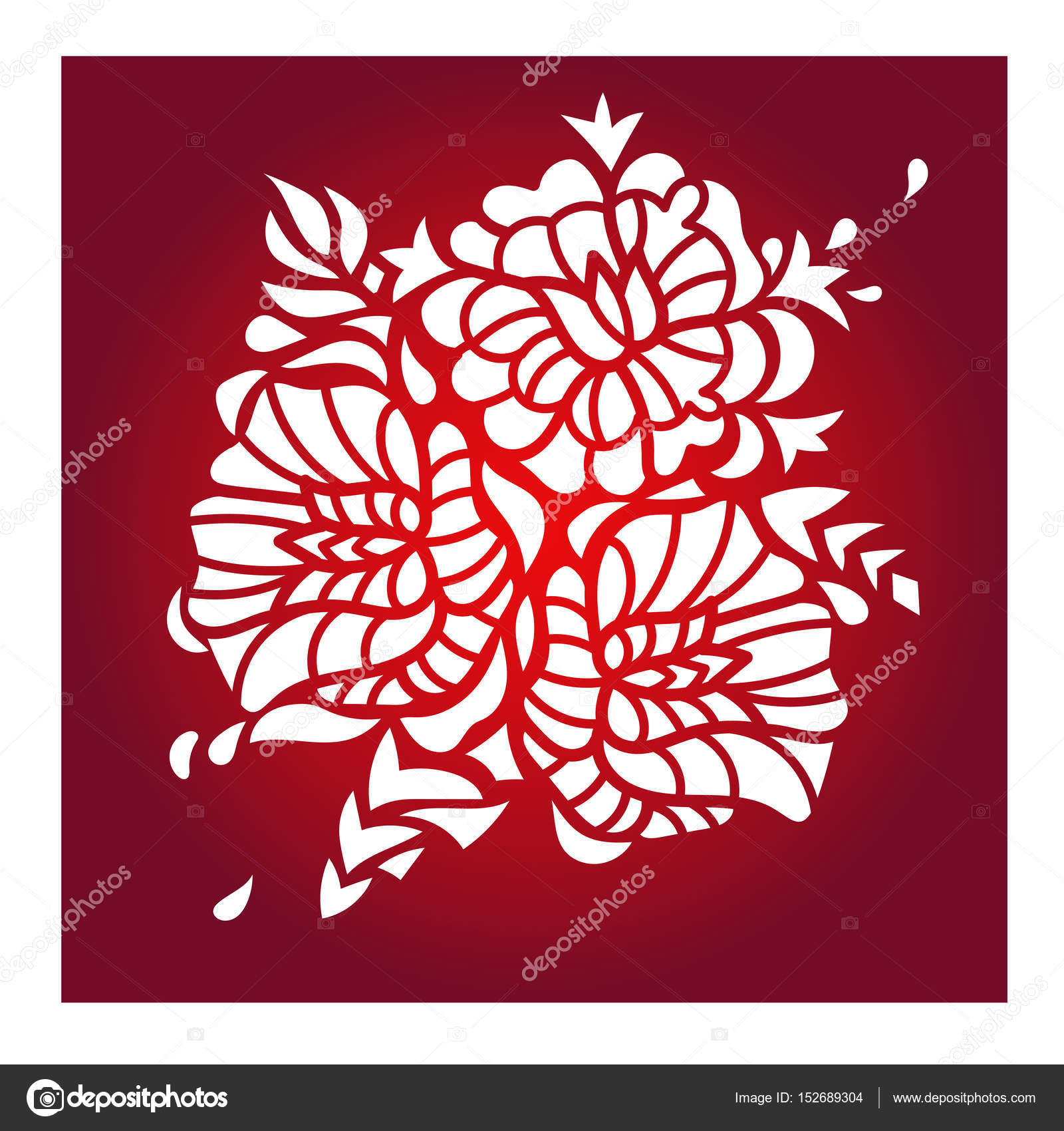 Laser cut vector template stock vector yazzik 152689304 laser cut flower pattern for decorative panel vector template ready for printing postcards packets wedding invitation wood engraving papermetal stopboris Images