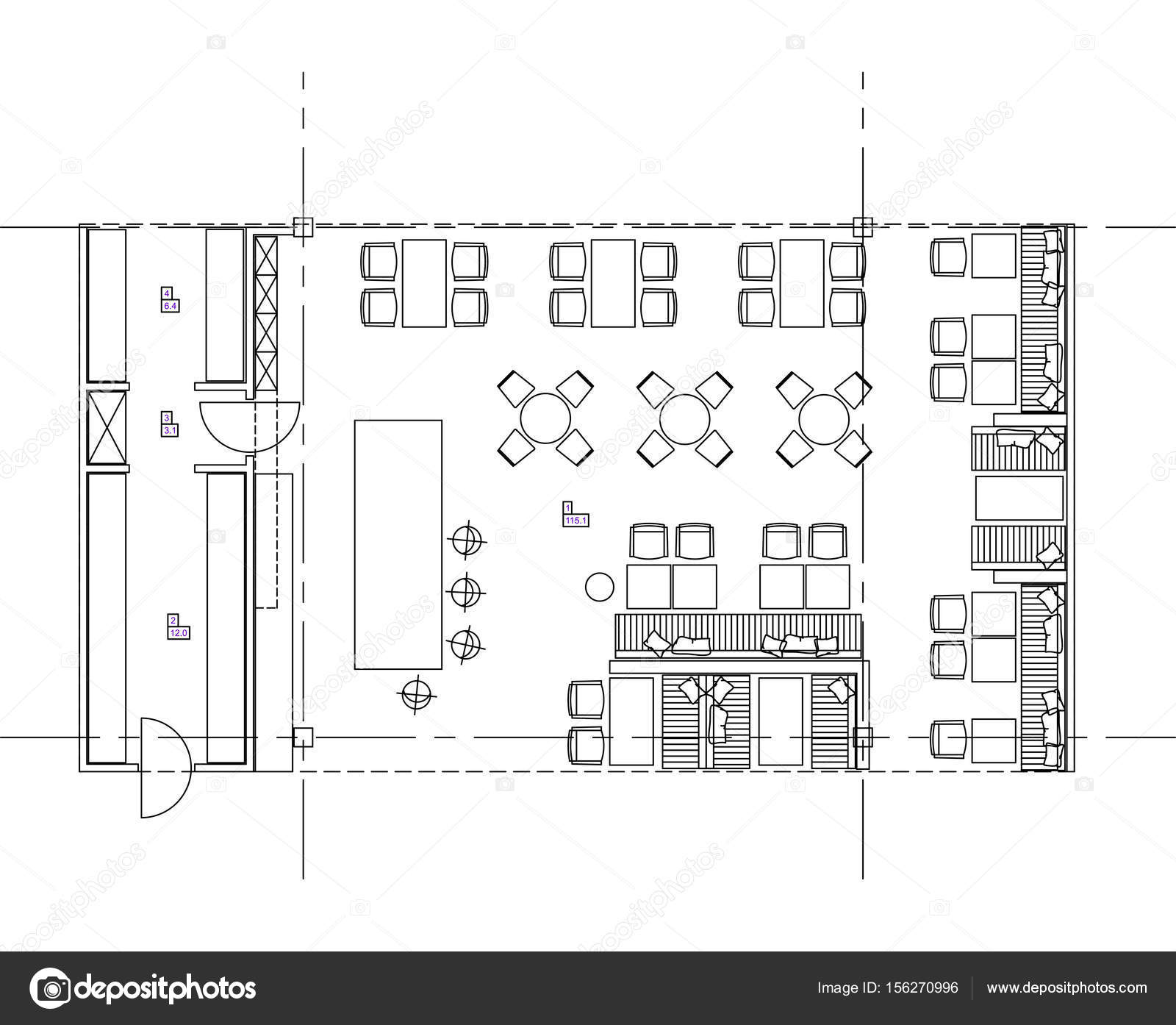 Standard Furniture Symbols Used In Architecture Plans Stock Vector