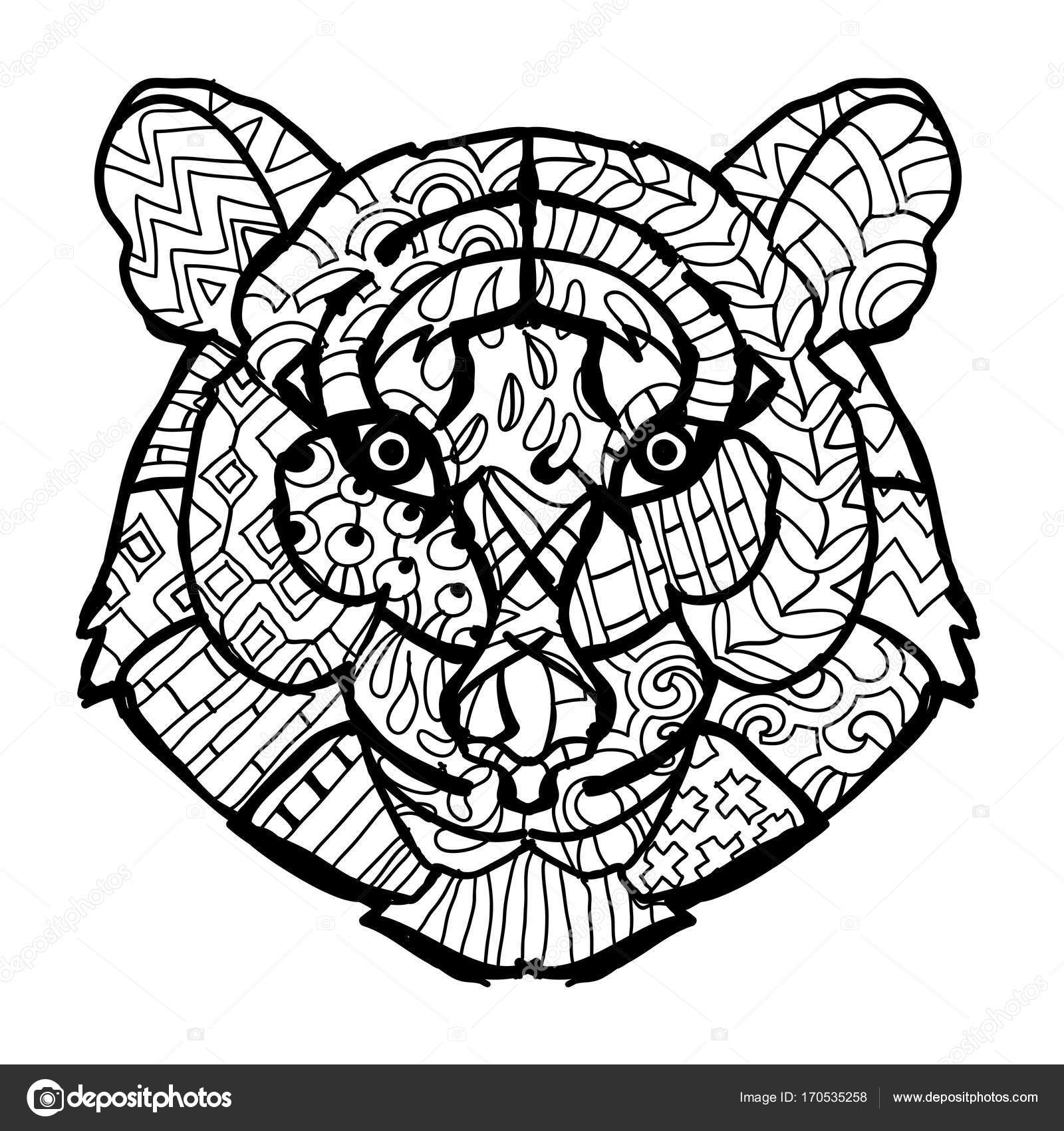 Hand Drawn Doodle Outline Tiger Head Decorated With OrnamentsVector Zen Art IllustrationFloral OrnamentSketch For Tattoo Or Coloring PagesBoho Style
