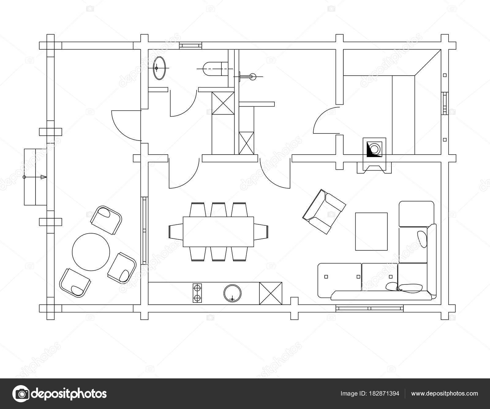 Insieme di simboli di mobili soggiorno standard for Un insieme di mobili