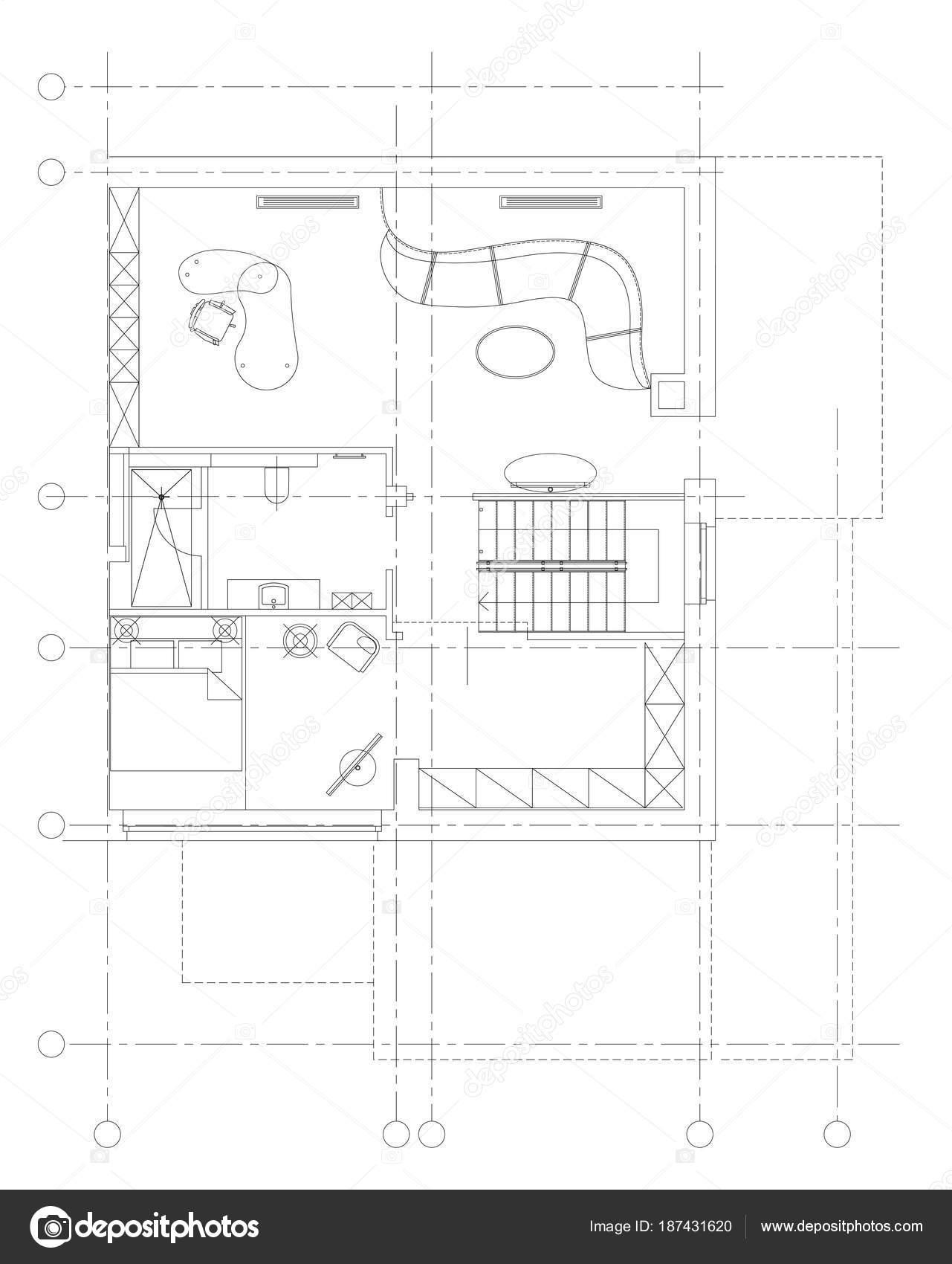 Standard Living Room Furniture Symbols Set Stock Vector Yazzik