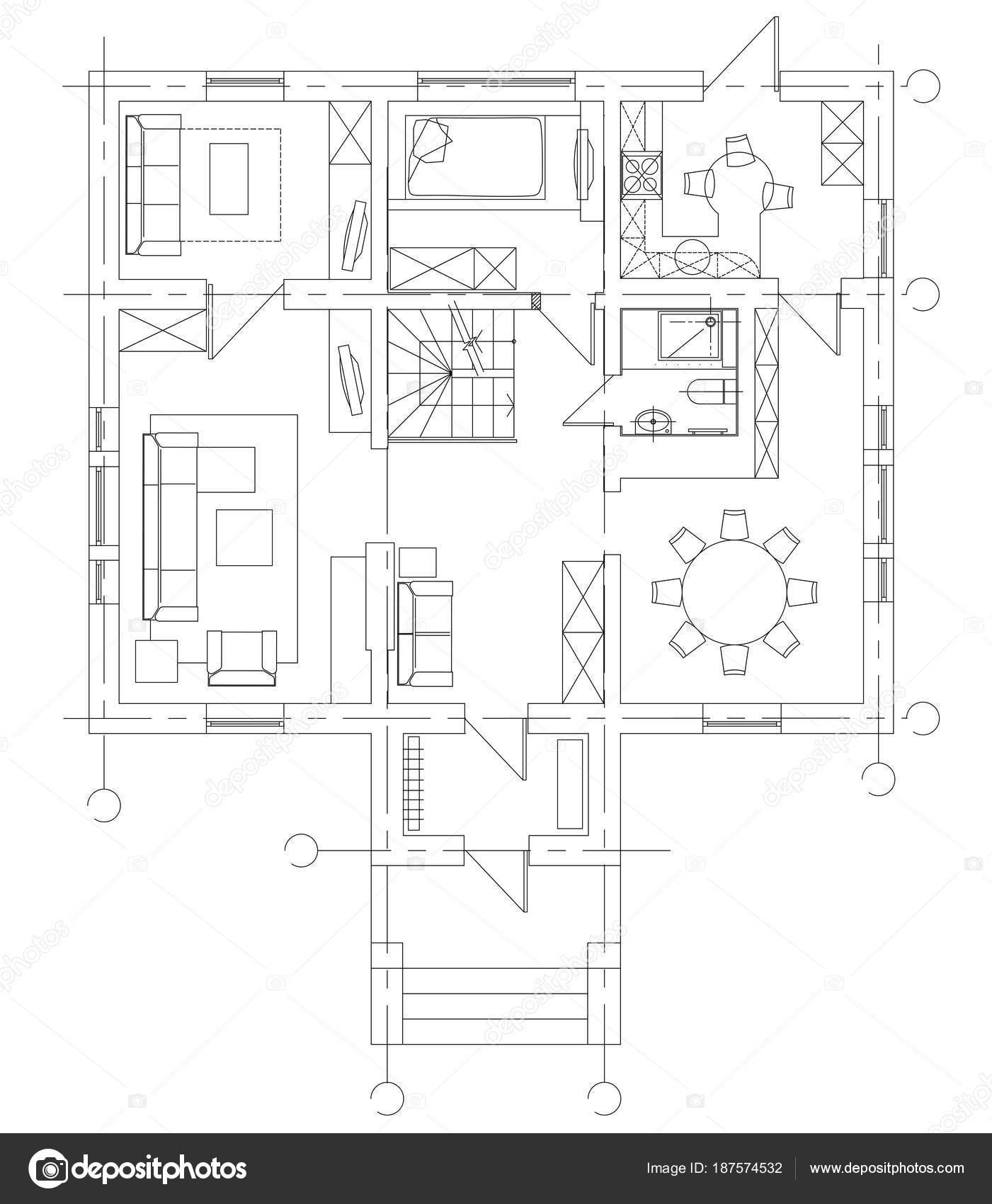 Conjunto de símbolos de muebles estándar — Vector de stock © YAZZIK ...