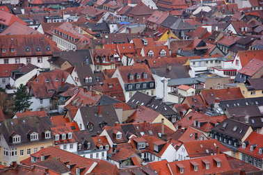 Germany, Heidelberg, 20 January 2017. The roof of the German town, orange brown, lots of Windows, attic, wall, white, many, different kinks