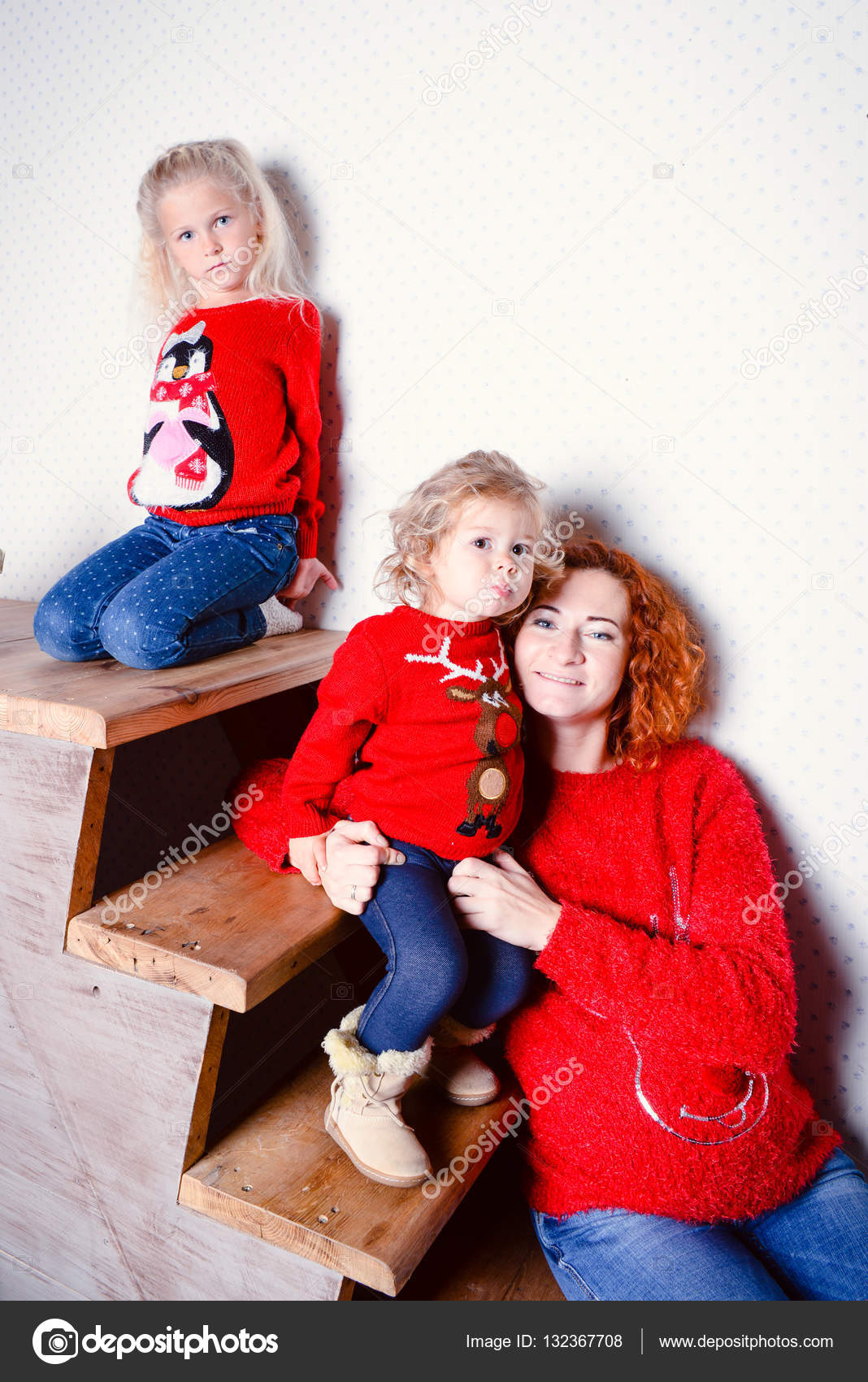 modern family mother and children daughter christmas portrait decorated christmas tree cozy atmosphere living room family together christmas celebration - Modern Family Christmas