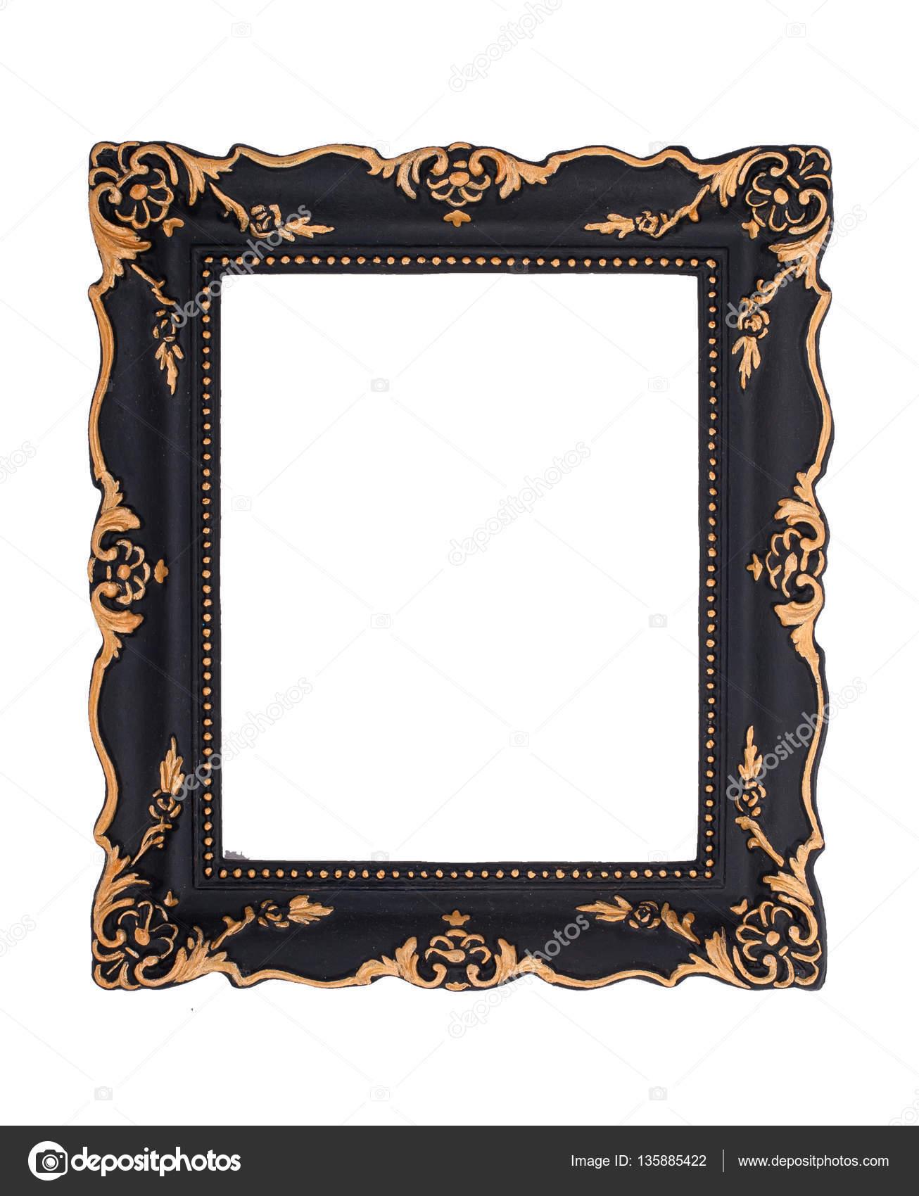 Marco barroco negro y oro adornado aislado en la parte posterior del ...