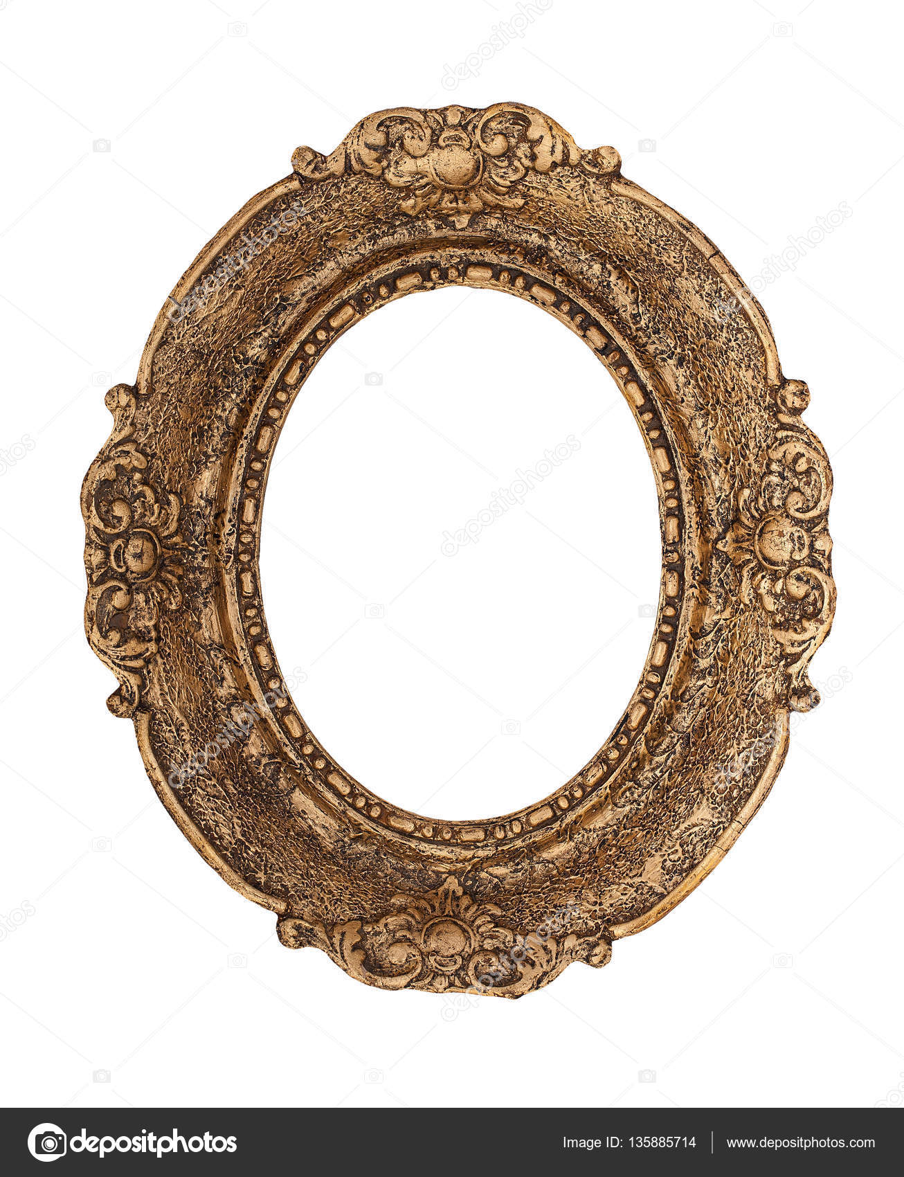 Ornate golden baroque frame isolated on the white background — Stock ...