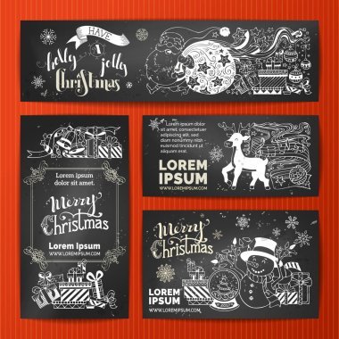 Merry Christmas banners set