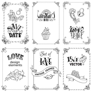 Valentines day greeting cards set, vector illustration stock vector