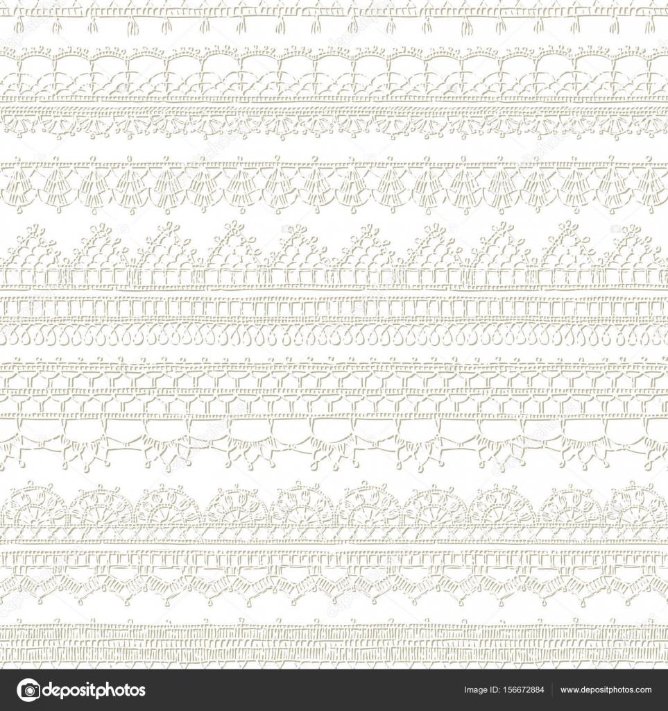 patrón de encaje crochet bordes — Archivo Imágenes Vectoriales ...