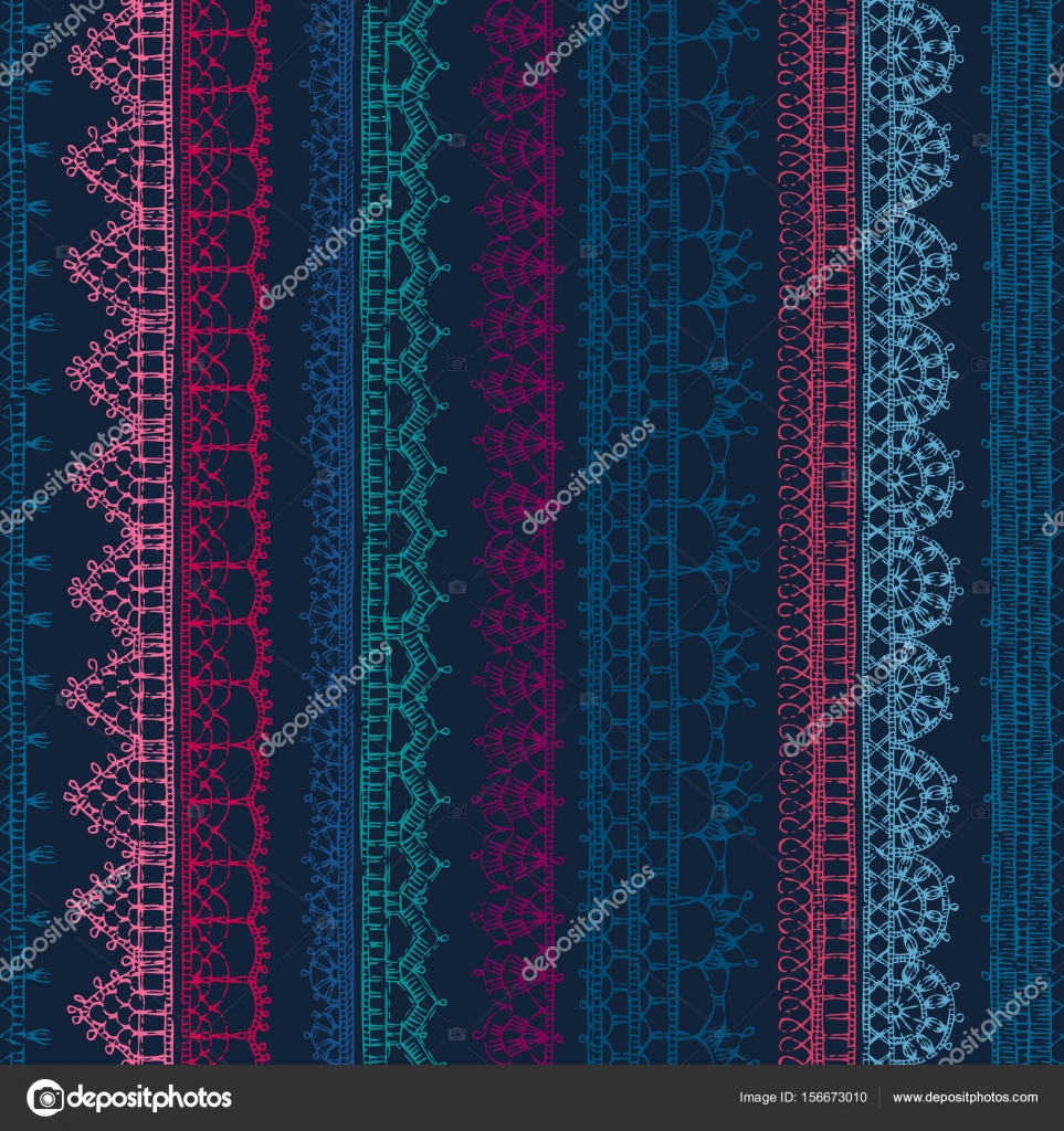 nahtlose Muster häkeln Spitzen Kanten — Stockvektor © Maljuk #156673010