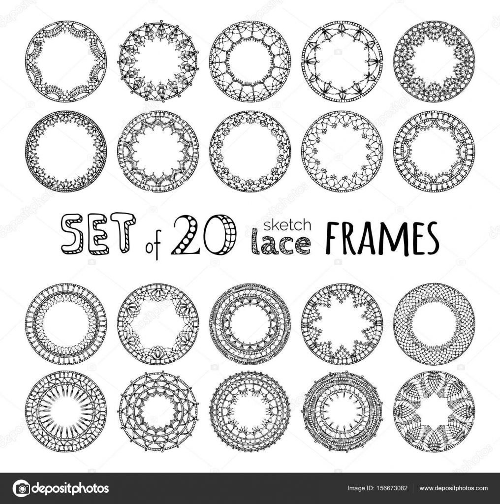 conjunto de encaje de ganchillo redondeos marcos — Vector de stock ...