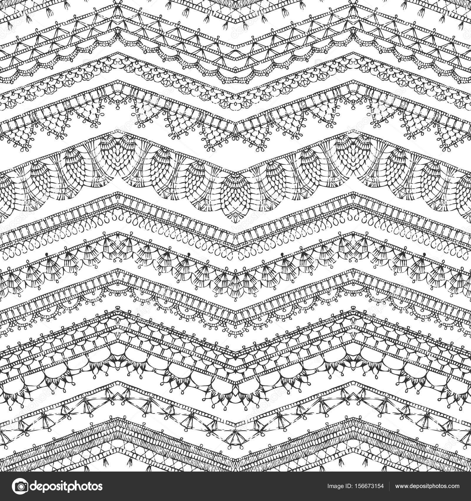 patrón transparente de bordes de encaje de ganchillo — Vector de ...