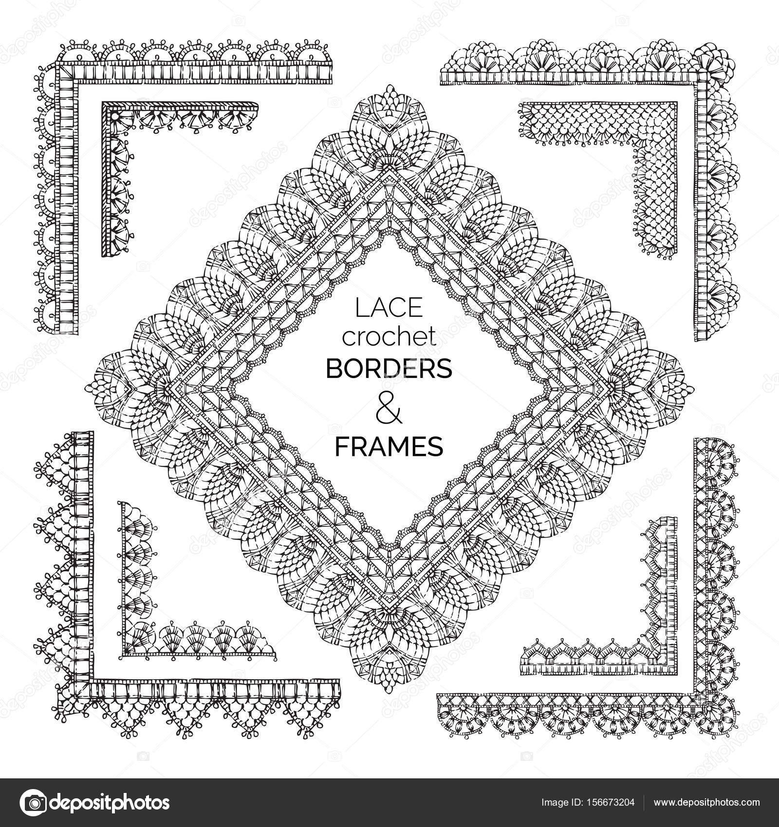 conjunto de encaje crochet bordes y marcos — Archivo Imágenes ...