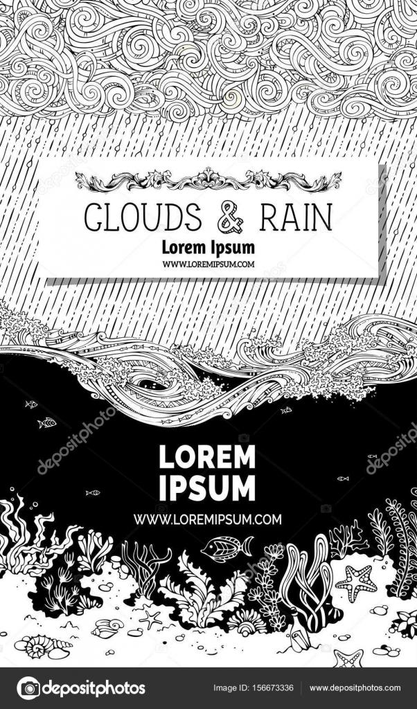 nubes, lluvia y mar de fondo — Archivo Imágenes Vectoriales © Maljuk ...