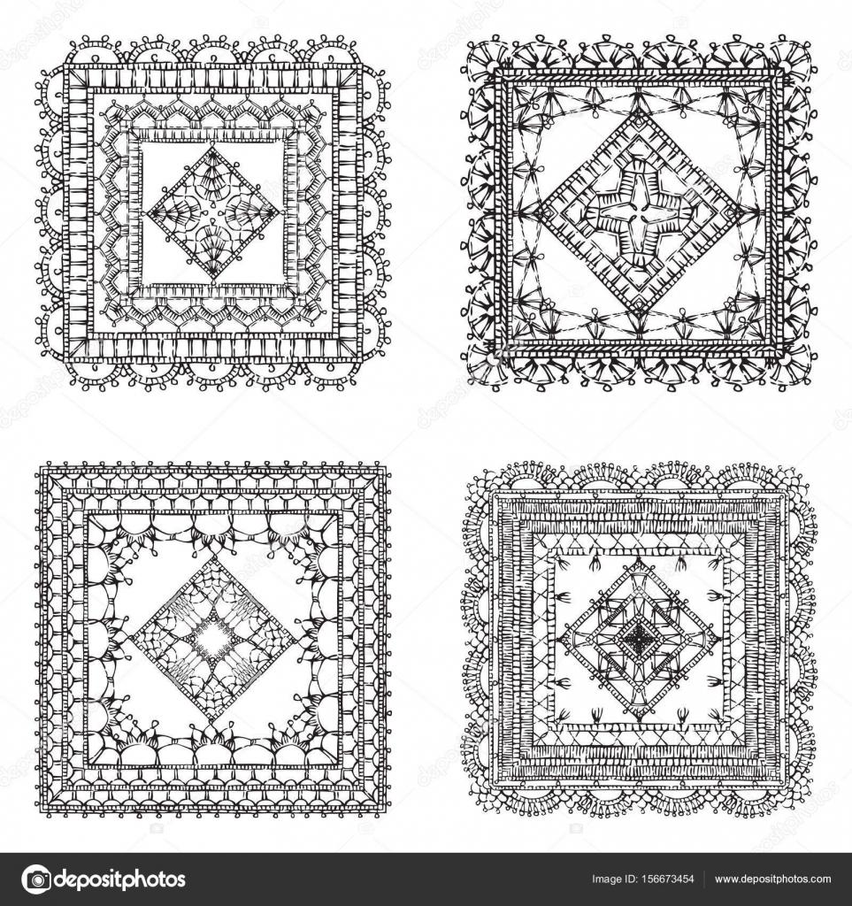 conjunto de ornamentos cuadrados de crochet de encaje — Archivo ...