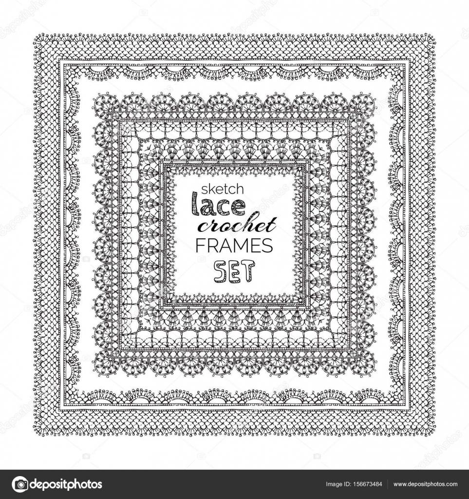 bosquejo de encaje crochet set de marcos — Archivo Imágenes ...
