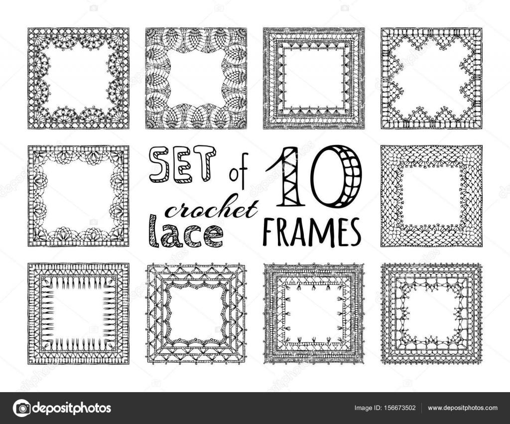 Marcos cuadrados de crochet de encaje — Vector de stock © Maljuk ...